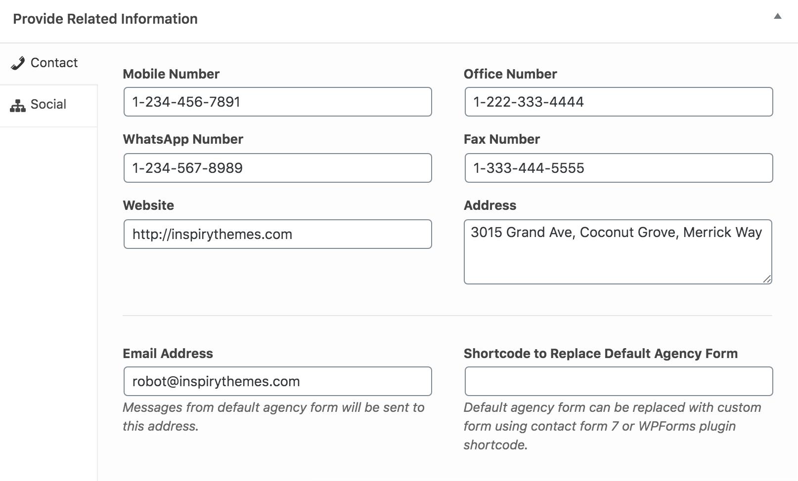 Informações de contato da agência