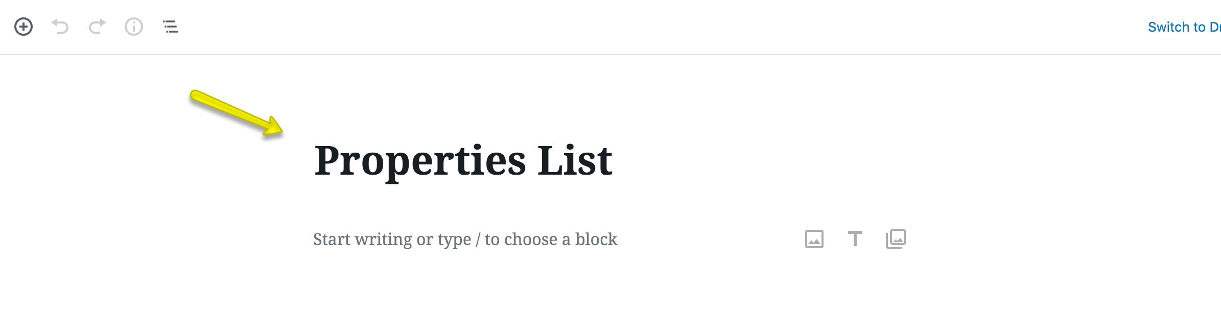 Página de listagem de propriedades