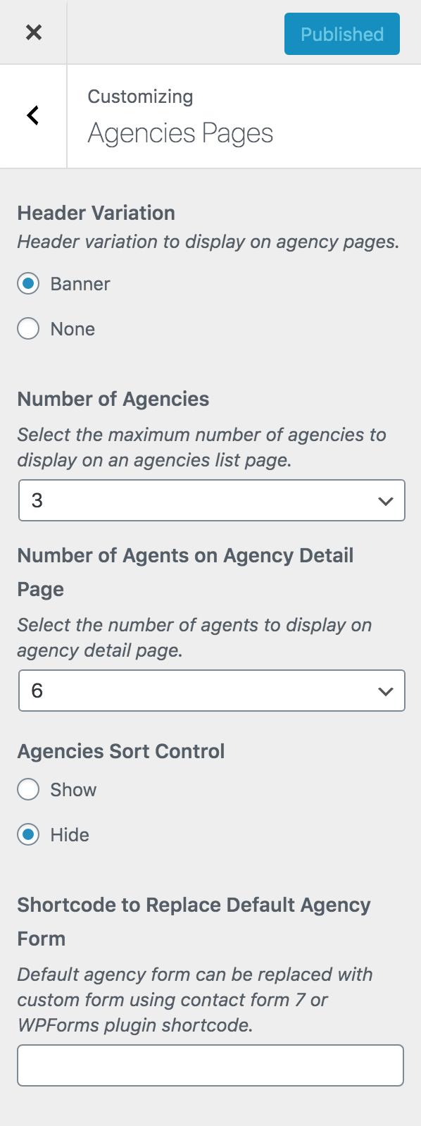 Configurações do personalizador da página de agências