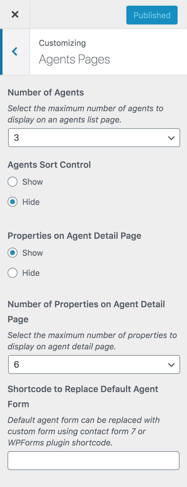 Configurações do personalizador da página de agentes