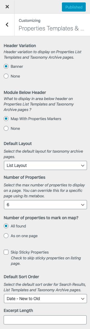 Modelos de listagem de propriedades