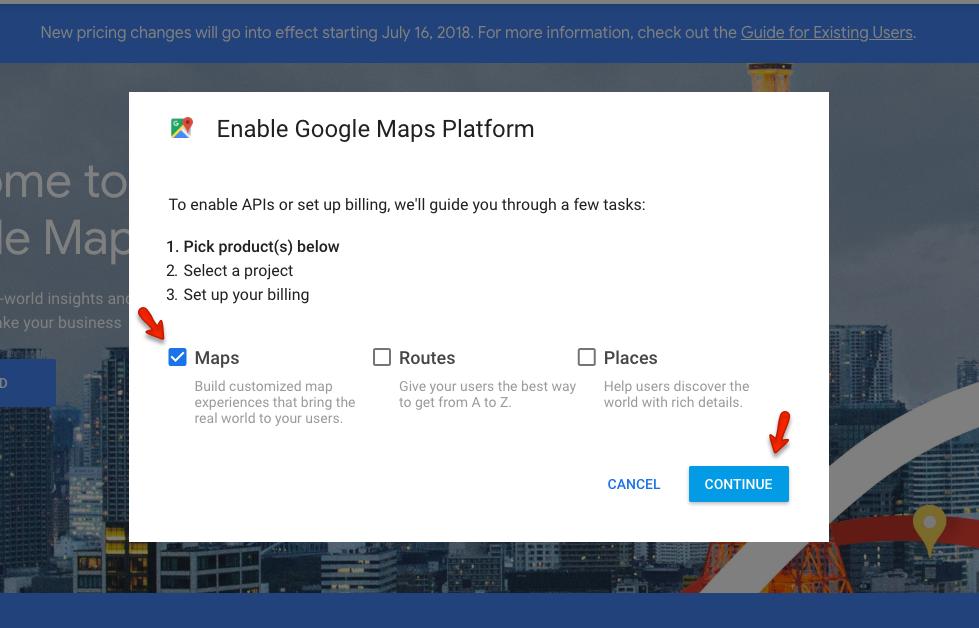 Configuração do Google Maps