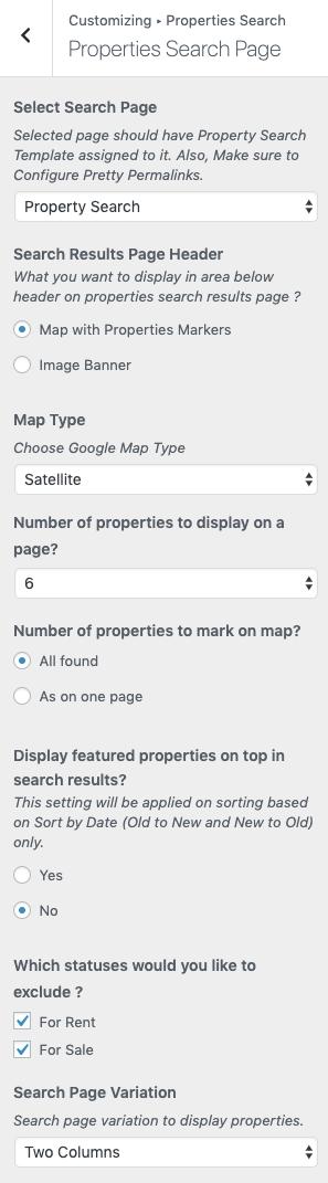 Configurações da página de pesquisa de propriedades