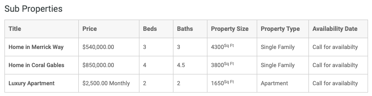Layout de tabela clássica de propriedades filho