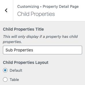 Página filho da propriedade