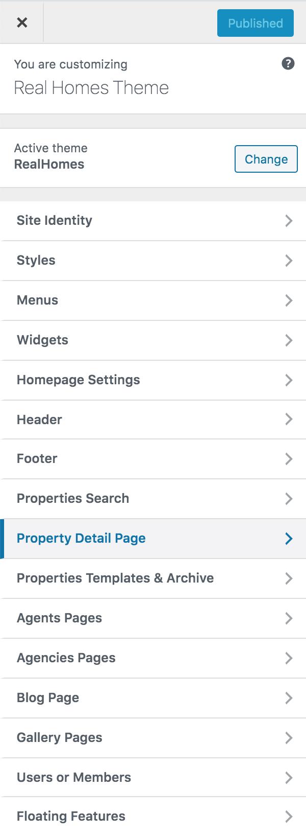 Configurações da página de detalhes da propriedade