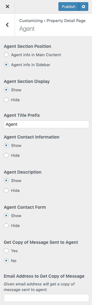 Configurações de agentes de propriedade