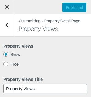 Exibições de propriedade nas configurações da página de detalhes da propriedade