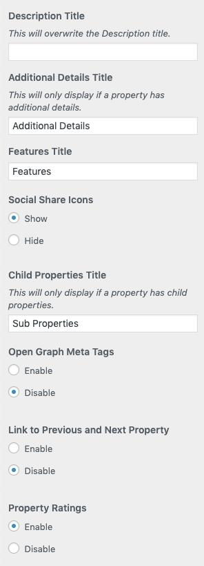 Página Configurações básicas da propriedade