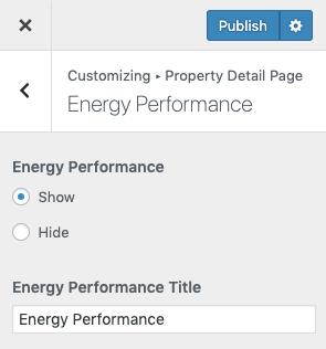 Desempenho energético na página de detalhes da propriedade
