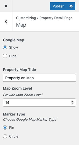Mapa de propriedades na página de detalhes da propriedade