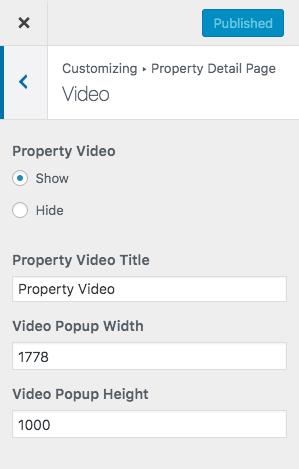 Configurações de vídeo da propriedade