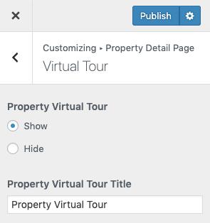 Configurações do tour virtual da propriedade
