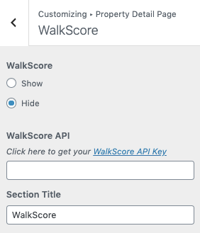 WalkScore da propriedade