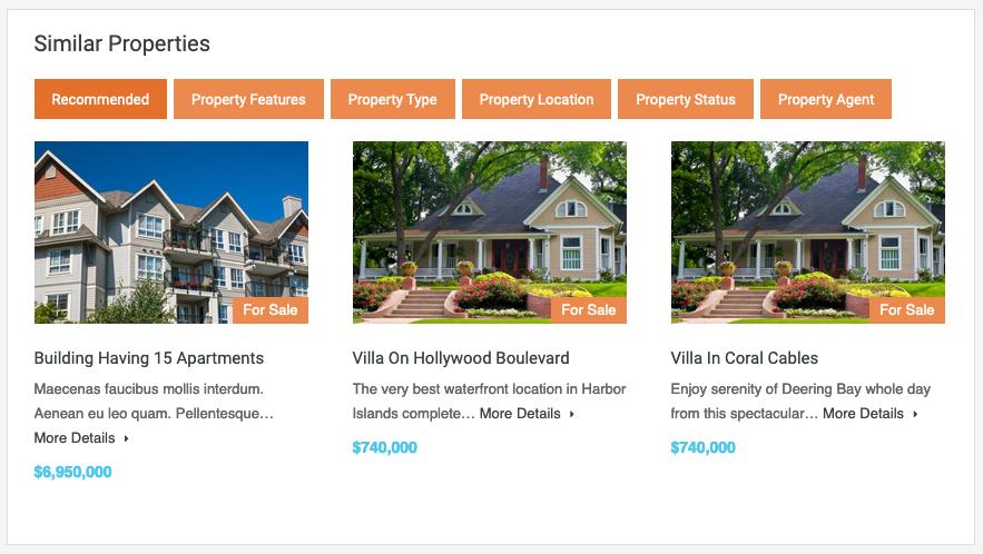 Propriedades semelhantes na página de propriedades