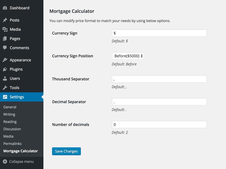 mortgage calculator real homes documentation