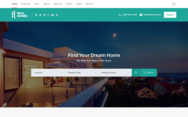 Modern- Header Two & Search Form Over Image